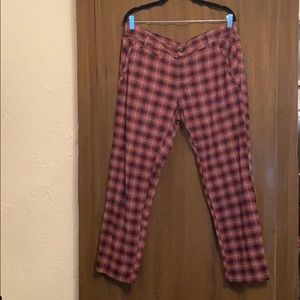 Free People red plaid pants, size 12